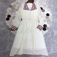 Silk Dress Women 2019 Casual Women Striped Dress Long Sleeve 2019 Spring Long Dresses Vintage Maxi Dress A line for Women