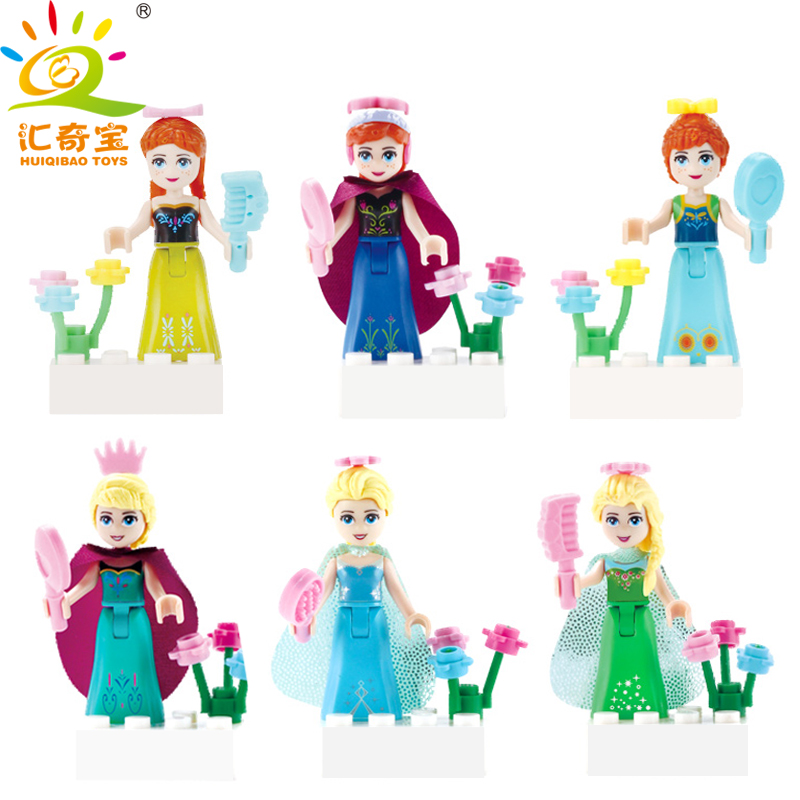 Princess Anna Elsa Girls Dress Up Dolls Figures Set With Stickers Building Blocks Compatible <font><b>Legoed</b></font> <font><b>Friends</b></font> Gifts Toys For Kids