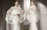 Sıcak!! beyaz Fildişi Dantel Şal Düğün Panço Yerleşimi Gelin Kıyafeti için Bolero Ceket Çaldı
