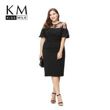 Kissmilk Плюс Размер Новая Мода Женская Одежда Основной Уличной OL Сексуальная кружевном Платье Лоскутное Slim Большой Размер Платья 3XL 4XL 5XL 6XL