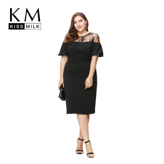 660f8dd0914 Kissmilk Women Plus Size Ruffles Shoulder Short Sleeve Party Sexy Lace  Patchwork Office Lady Bodycon Midi