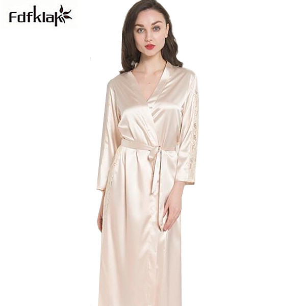 1c6baf5ef6 Silk robes for women new spring autumn ladies sleepwear robe long sleeve women s  bathrobes sexy hollow out dressing gown. 2 orders