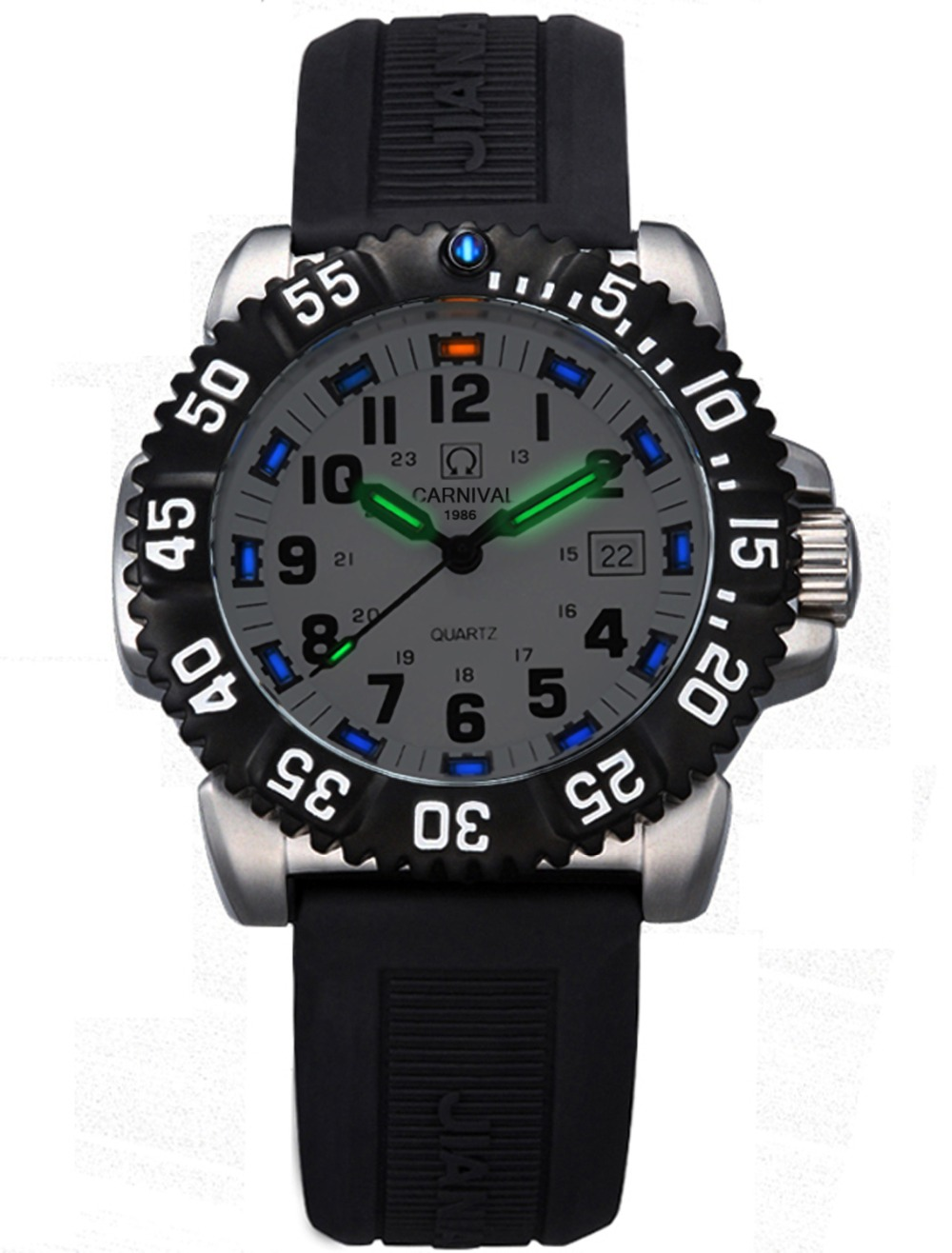 Здесь продается  Luxury Waterproof Military tritium light Watch men source silver Stainless steel Diver silicone band quartz Watch  Часы