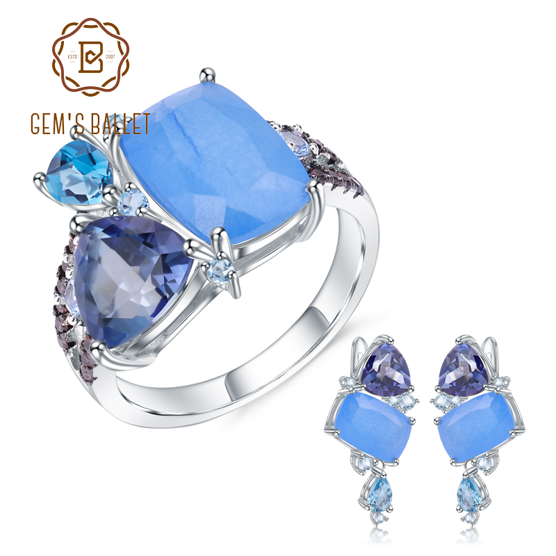 GEM S BALLET Natural Aqua blue Calcedony Geometric Casual Jewelry 925 Sterling Silver Ring Earrings Jewelry