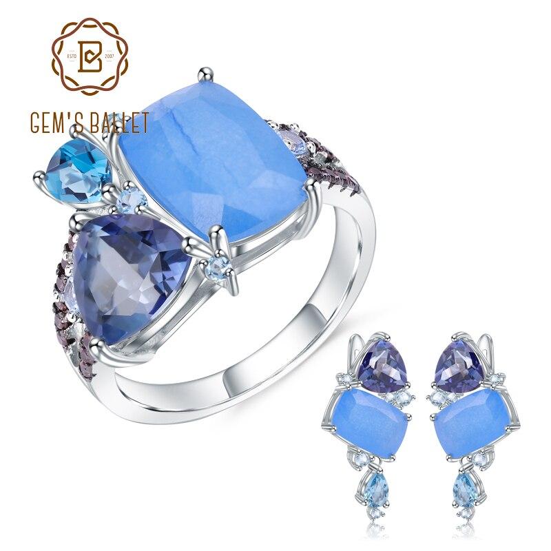 GEM'S บัลเล่ต์ธรรมชาติ Aqua   blue Calcedony เรขาคณิต Casual เครื่องประดับ 925 เงินสเตอร์ลิงแหวนต่างหูชุดเครื่องประดับสำหรับของขวัญผู้หญิง-ใน ชุดอัญมณี จาก อัญมณีและเครื่องประดับ บน   1