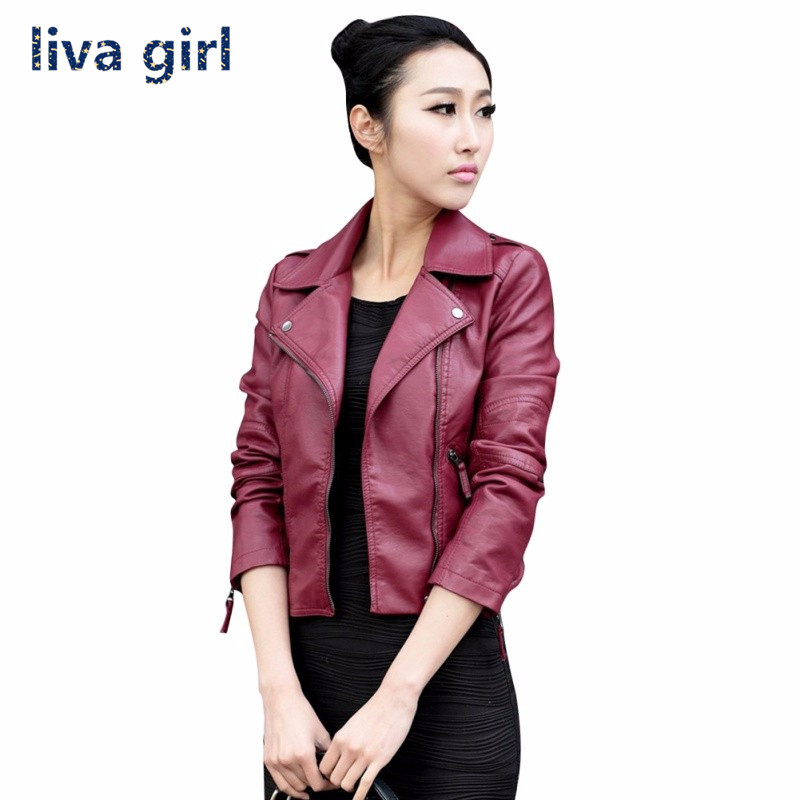 Women Casual Motorcycle PU   Leather   Long Sleeve Jacket Stylish Coat Hot Outwear Slim Brand Zipper Tops