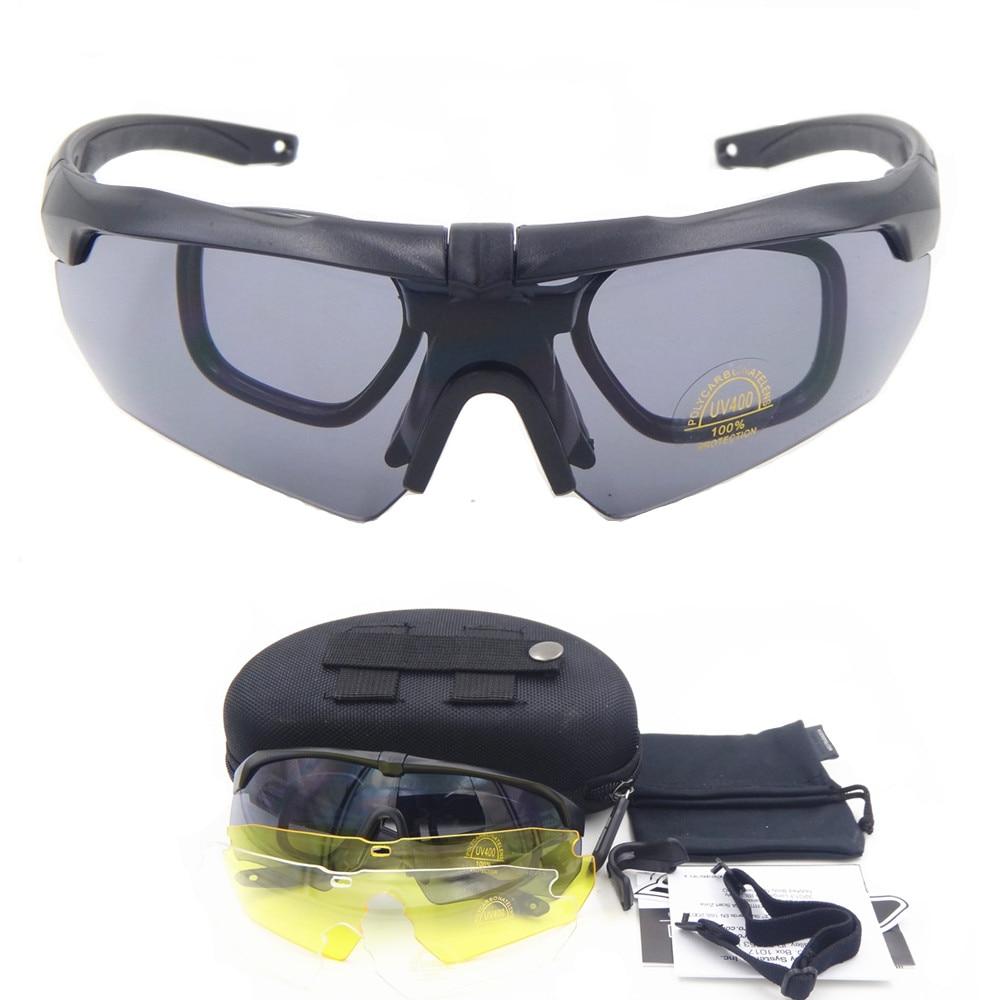 994e044ae28 Polarized Cycling TR90 military goggles 3 5 Lens Ballistic Military Sport  Men Sunglasses Army Bullet