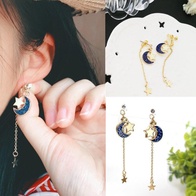 Anime Sailor Moon 25t Blue Star Moon Eardrop Earrings Cosplay Prop