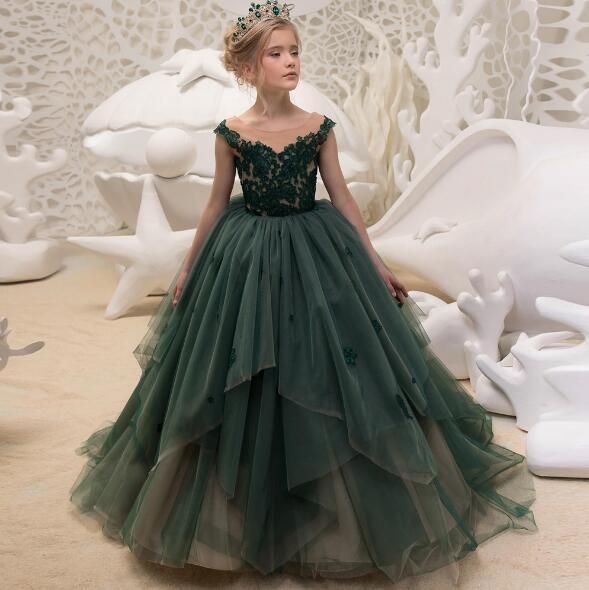 Luxe Vert Fleur Filles Robes Pour Les Mariages 2018 Nouveau Plancher Longueur Petites Filles Pageant robes de bal Dentelle Prom Party Manches