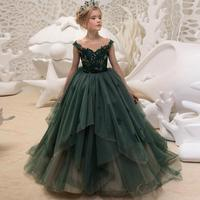 Luxury Green Flower Girls Dresses For Weddings 2018 New Floor Length Little Girls Pageant Ball Gowns Lace Prom Party Sleeveless