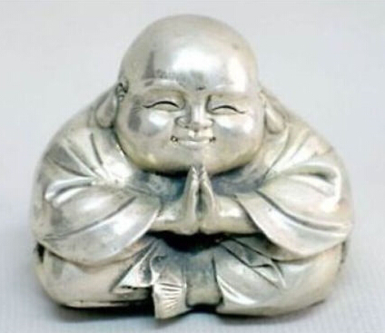 Old Tibet Silver Sitting Small Laughing Buddha Statue|Statues & Sculptures|Home & Garden - title=