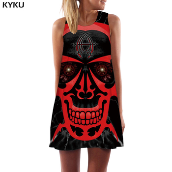 KYKU Skull Dress Women Skeleton Boho Gray 3d Print Ink Office Gothic Beach Womens Clothing Vintage Ladies 1