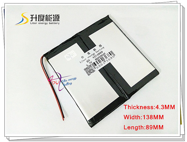 3.7V 8000mAH 4313889 Polymer lithium ion / Li-ion battery for tablet pc,power bank,e-book,cell phone,speaker,pipo,