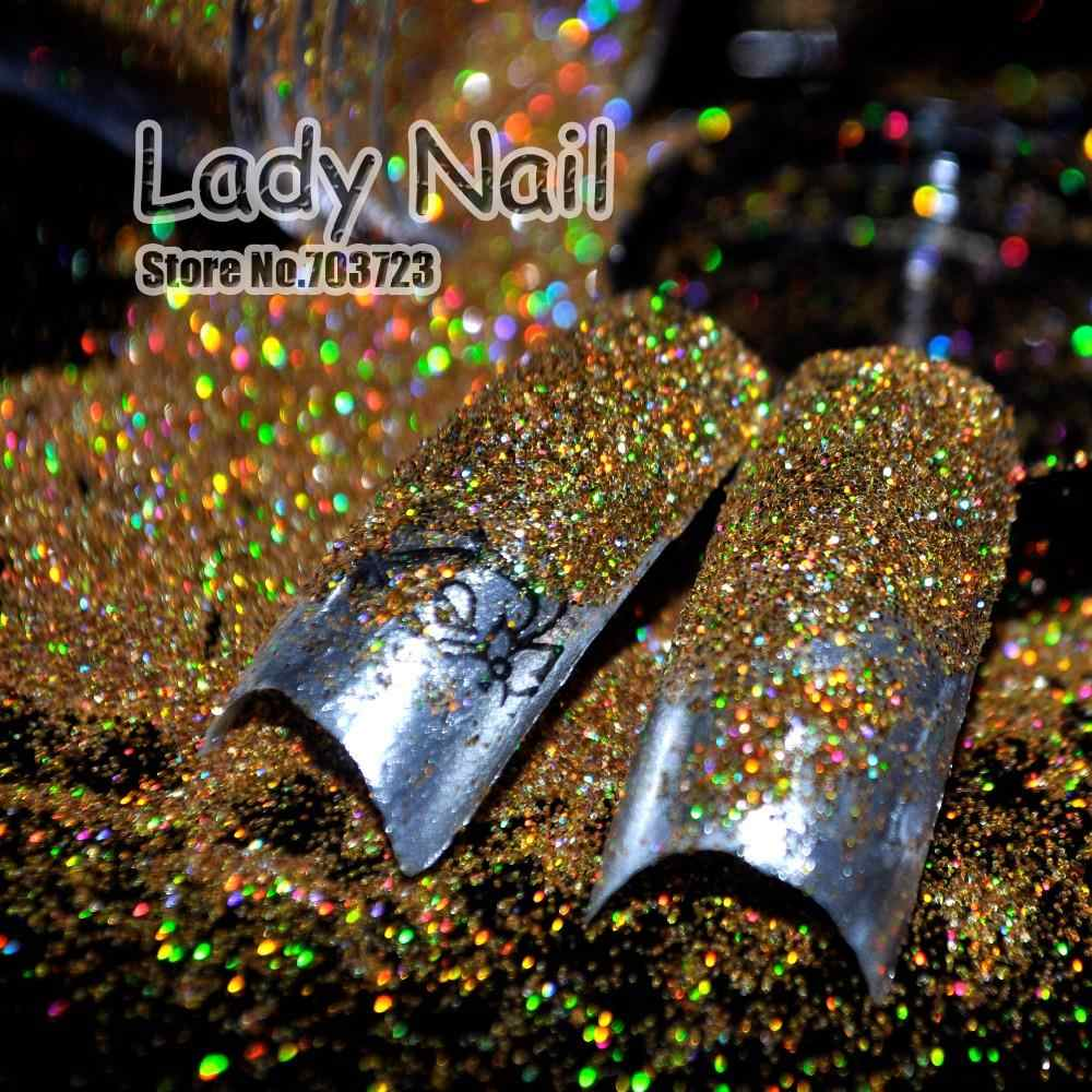 Nieuwe ontwerp Kleine Glitter Dust Nail Tips UV Acryl Decoratie Kleurrijke Shine Bling DIY Nail Art Laser Gouden Kleur N47