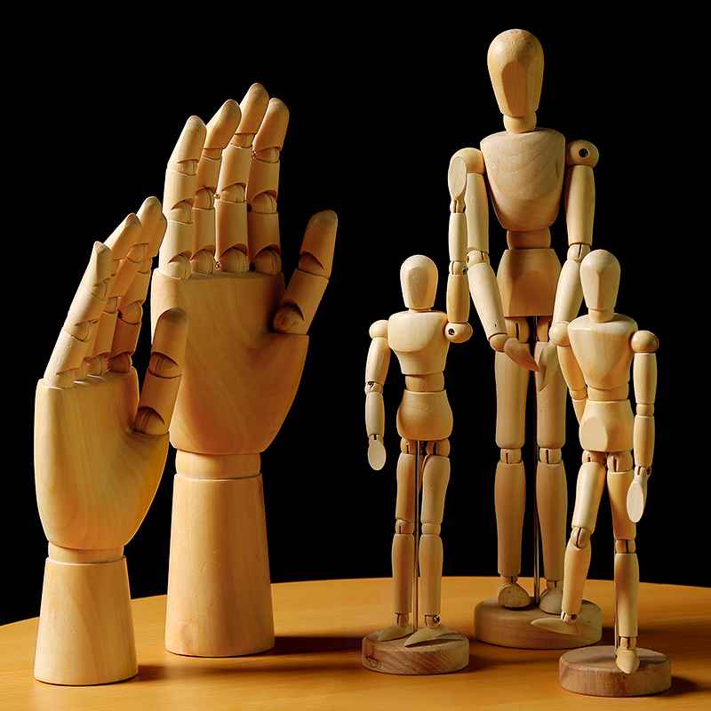 The 5.5/8/12 Inch Wooden Comic Tools Wooden Model Puppet Joint Doll Sketch Model,Female Right Hand Male Left Hand Art Supplies
