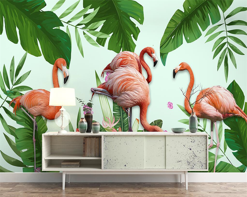 Beibehang Custom wallpaper hand-painted tropical rainforest plant flamingo TV background walls home decoration 3d wallpaperr