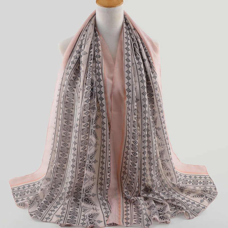 Moda de alta qualidade 2018, estilo britânico, hijab Muçulmano, xales envoltório, geométrica cachecol, viscose hijab, xales e lenços, lenço na cabeça