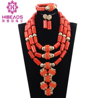 Nigerian Coral Beads Jewelry Set Luxury Indian Bridal Coral Statement Necklace Set Wedding Women Jewelry Set Free ShipingABH417