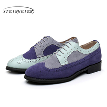 100% Genuine Cow Leather Casual Designer Vintage Lady Handmade Oxford Shoes