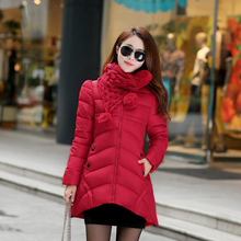 Plus Size Winter Fashion Long Thick Warm Down Cotton Jacket Slim Coat Women Hooded Overcoat Parka Coats with Scarf