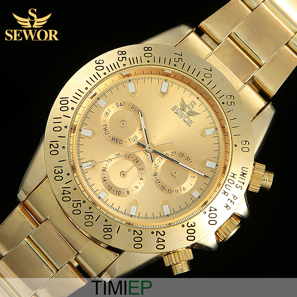 2017 SEWOR Super Luxury All Golden High Quality Mens Automatic Mechanical Watches C1259