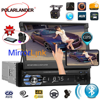 7 Touch Screen Autoradio Stereo USB/AUX/SD Head Unit radio cassette player Bluetooth GPS Mirror Link Car Radio 1DIN auto tapes image