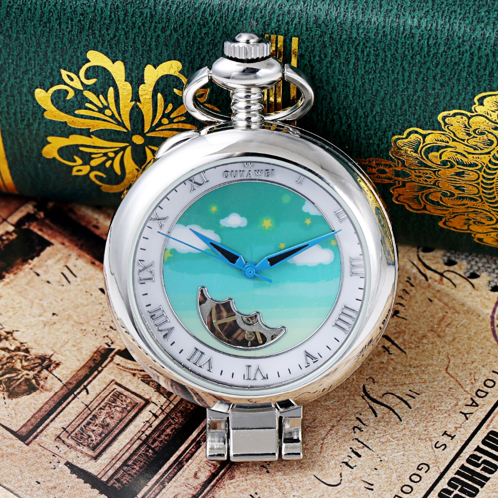 2018 NEW Fashion OUYAWEI Mechanical Pocket Watch Men Full Steel Case Pocket Fob Watch Analog Silver White Dial Vintage Man Clock