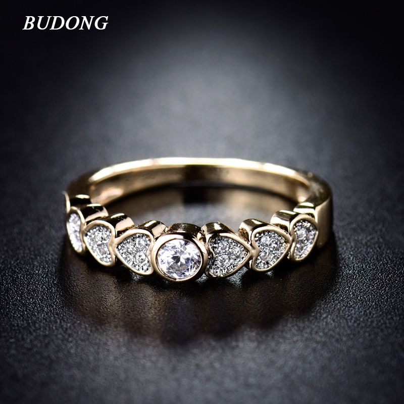 Budong fashion heart ring valentines gift for women gold for Valentine gifts for ladies