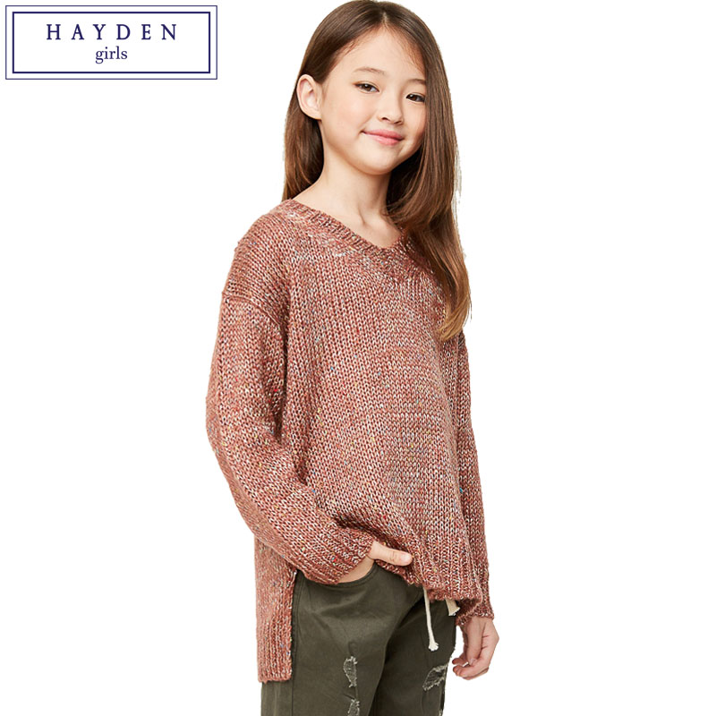 HAYDEN Girls Pullover Sweaters Kids Brand Knitted Sweater Pullovers for 2018 Autumn Winter Children's Knitwear Teens Fall Top autumn winter female long wool knitted dresses turtleneck slim lady accept waist package hip pullovers sweater dress for women