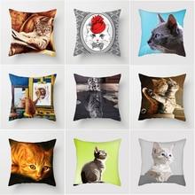 2019 New CUSCOV Cute Cat Pillow Cover For Children Decorative Cushion Covers for Sofa Throw Car Chair Decor Case