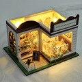 Doll House com Dust Cover mobiliário Diy em miniatura do enigma 3D casa de bonecas de madeira miniaturas casa para bonecas brinquedos presentes de aniversário nova