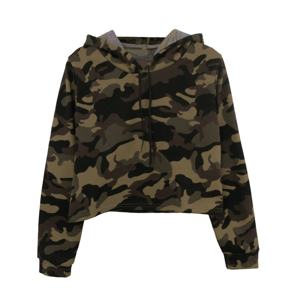 Women Camouflage Printed Cropped Hoodies Sweatshirts Long Sleeve Tracksuit 2020 Autumn ArmyGreen Hooded Pullovers f2