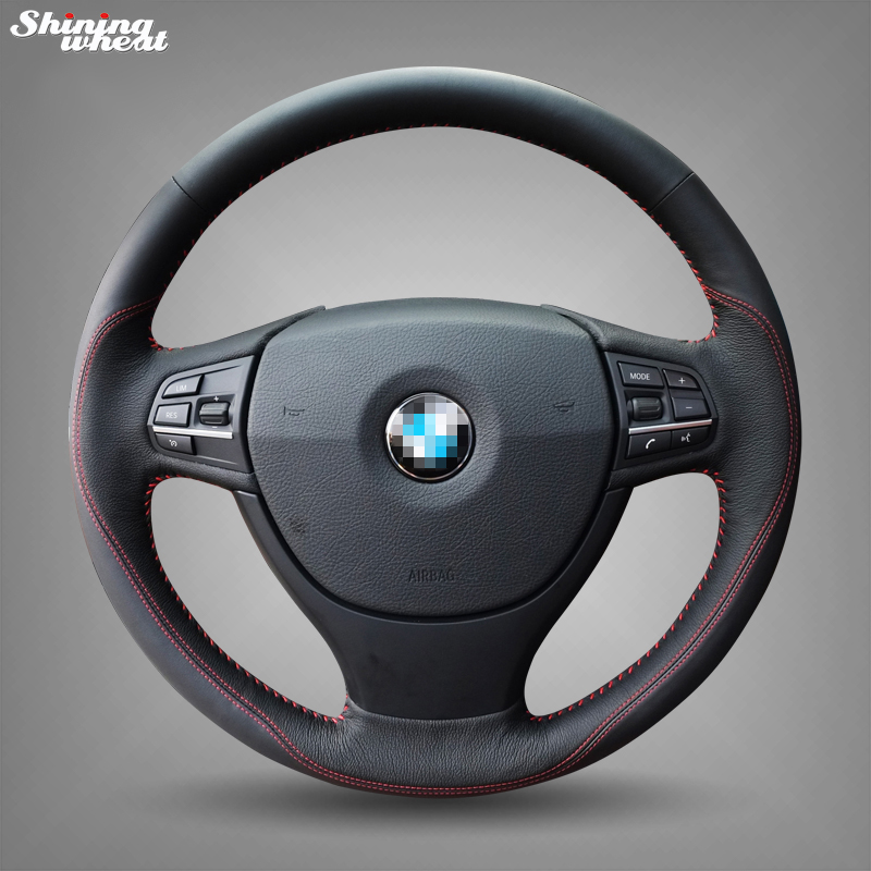 Shining wheat Black Genuine Leather Red Thread Car Steering Wheel Cover for BMW F10 523Li 525Li 2009 730Li 740Li 750Li цены онлайн