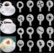 16Pcs/set Fashion Cappuccino Coffee Barista Stencils Template Strew Pad Duster Spray Tools AF019