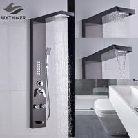 Newly Style Thermostatic Brushed Nickle Shower Column Shower Panel W Hand Shower Jets Tub Plate Shower