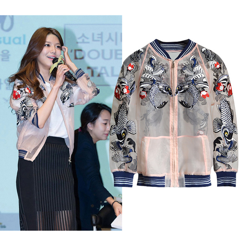 2016 spring autumn new European star embroidery baseball coat women bomber jacket punk short coat