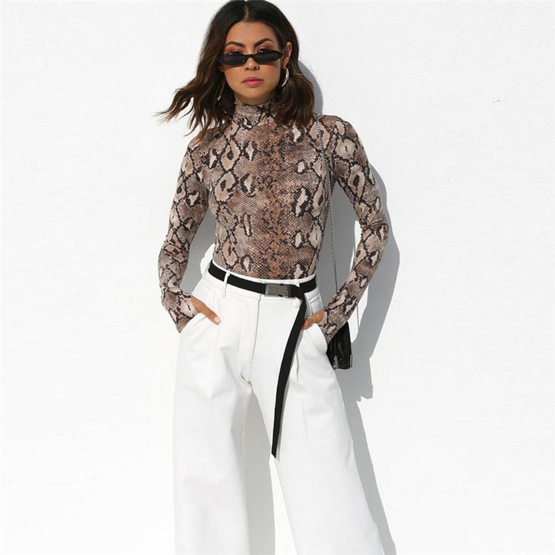 2019 Spring New Jumpsuit Women's T-shirt High Collar Long-sleeved T-shirt Slim Snake Pattern Fashion Women's Clothing Sexy Top With The Best Service