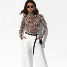 цены 2019 spring new jumpsuit women's T-shirt high collar long-sleeved T-shirt Slim snake pattern fashion women's clothing Sexy top