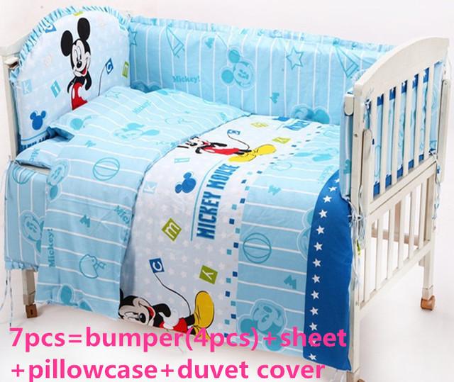 Promoção! 6 PCS Mickey Mouse conjuntos de cama berço set, Duvret com, 100% algodão, 120 * 60 / 120 * 70 cm