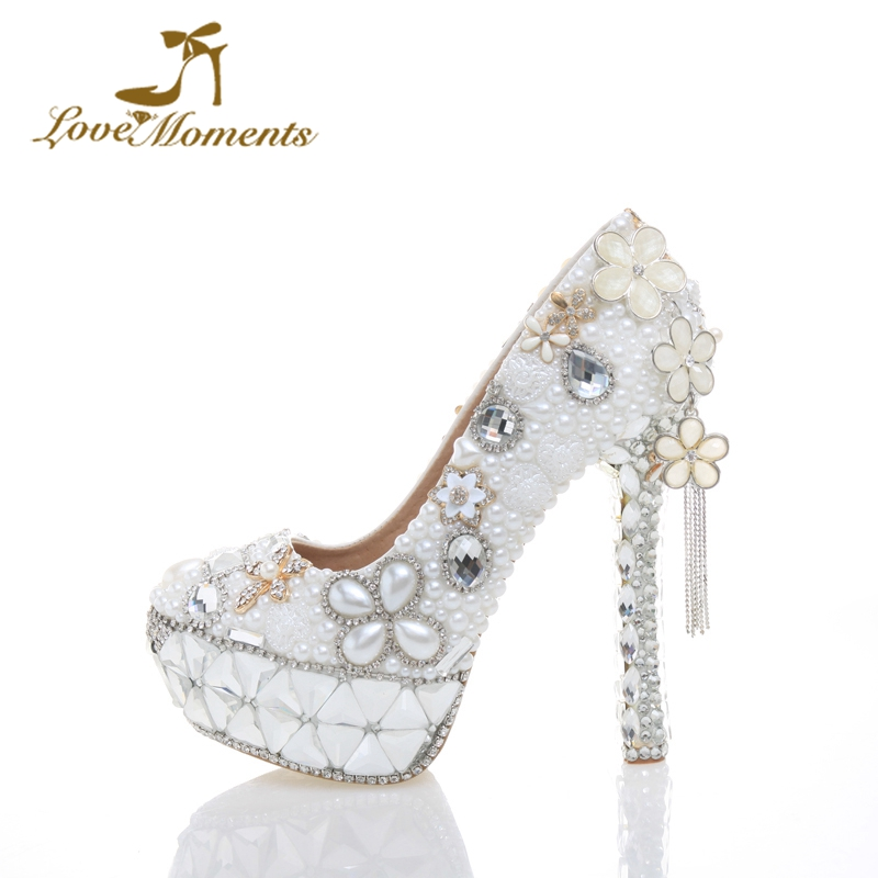 2018 White Pearl Wedding Shoes Tassel High Heel Women Shoes Genuine Leather Birthday Party Prom Heels Cinderella Event Pumps new arrival white wedding shoes pearl lace bridal bridesmaid shoes high heels shoes dance shoes women pumps free shipping party