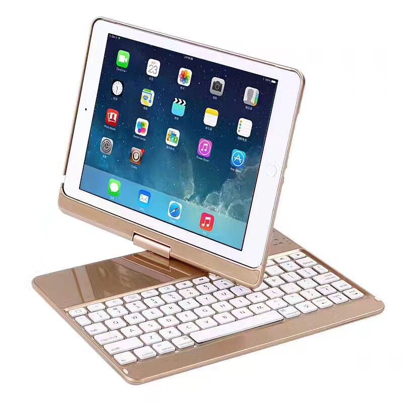 2018 Keyboard For iPad New 2017 9.7 360 Degree Rotation Wireless Bluetooth Keyboard Backlit Case Cover Keyboard for iPad Air 2 bluetooth v2 0 wireless 78 key keyboard for ipad ipad 2 the new ipad white silver