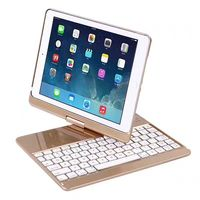 Keyboard For IPad New 2017 9 7 360 Degree Rotation Wireless Bluetooth Keyboard Backlit Case Cover