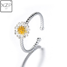 XZP Classic Cute S925Silver Adjustable Open Daisy Flower Rings Valentines Day Gifts Wedding For Women Bangue