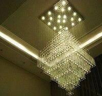 Простая современная вилла люстра на лестницу Дуплекс Здание гостиная большая люстра гостиничный зал проект хрустальная лампа длинные ламп