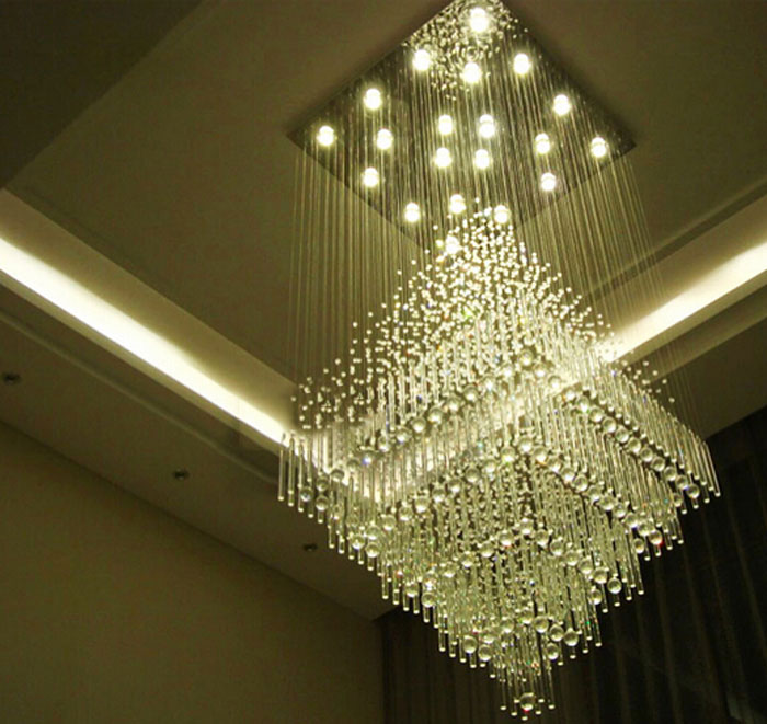 Simple modern villa staircase chandelier duplex building living room large chandelier hotel hall project crystal lamp long lamps