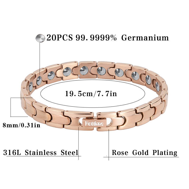 Hottime Health Care Bracelet 20 PCS 99.9999% Pure Germanium Bracelet For Women Fashion 316L Stainless Steel Bracelets Bangles - 2