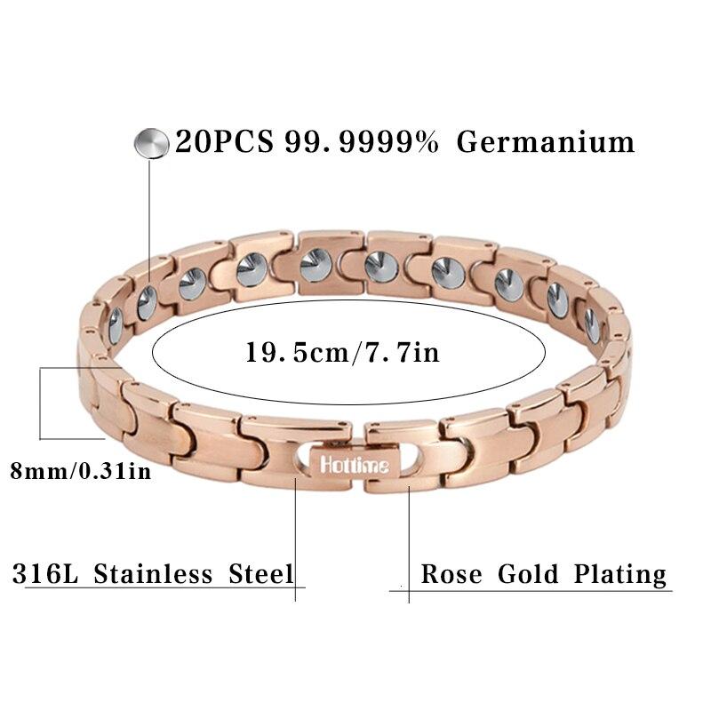 Hottime Magnetische Volledige Gezondheidszorg Armband Volledige 99.9999% Germanium Armband Voor Vrouwen 316L Rvs Armbanden Bangles - 2