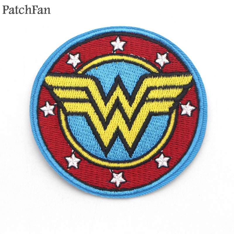 20pcs/lot A0377 Patchfan Newest badge Wonder Woman Embroidered patches iron/Sew on for hat bag shoes Applique for DIY Patchwork