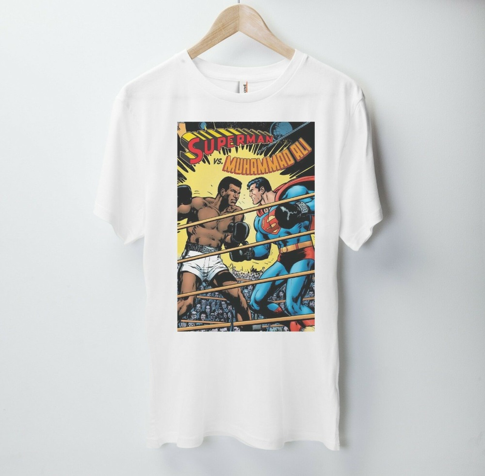 Superman Vs. Muhammad Ali T Shirt Gym Muscle Workout Punisher Deadpool Box Tyson 2019 Fashion Men T Shirt Tees Custom Cool Shirt