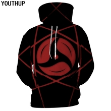 YOUTHUP 2018 Men Hoodies 3D Print Sharingan Hooded Sweatshirts Fashion Anime Naruto Cool Tops Streetwear Plus Size